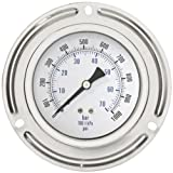 """PIC Gauge 204D-354CC Dry Filled Industrial Front Flanged Panel Lower Back Mount Pressure Gauge with Stainless Steel Case, Brass Internals, Plastic Lens, 3-1/2"""" Dial Size, 1/4"""" Male NPT Connection Size, 30/0/30 Range"""