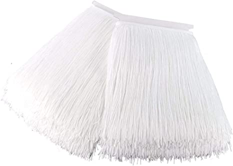KOLIGHT 10yards Width 8inch Polyester Lace Tassel Fringe Trim Decoration for Latin Dress Stage Clothes Lamp Shade Black