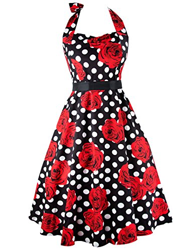 [iPretty Women's Sexy Halter Neck Polka Dot Dress 1950s Vintage Dress Rockabilly Cocktail Swing] (1950s Costumes Ideas)