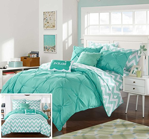 Twin 7 Piece (Chic Home 7 Piece Heathville Pinch Pleated Chevron Print REVERSIBLE,Twin X-Long Bed In a Bag Comforter Set Aqua with Sheets)