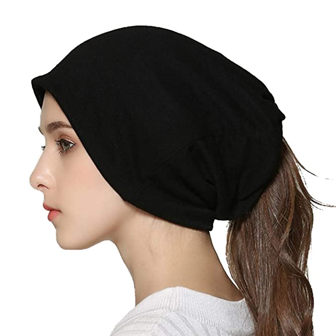 Winter Slouchy Beanie Hat Infinity Scarf Soft Cotton Baggy Knit Skull Cap Ponytail Hats Sleep Chemo Caps for Women Black best ponytail beanie