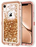 """JAKPAK Case for iPhone XR Case Glitter Bling Sparkle for Girls Woman iPhone XR Case Heavy Duty Shockproof Full Body Protective Shell with Hard PC Bumper+TPU Back Cover for iPhone XR/10R 6.1""""-Rose Gold"""