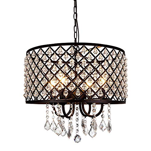Berliget Black Finshed Round Metal Shade 3-Lights Adjustable Chain Crystal Chandelier Pendant Ceiling Fixture, Hanging Light Fixture for Living Room, Kitchen, Bar, Dining ()