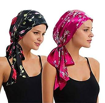 EINSKEY Turbante Chemioterapia Donna Estivo Anti UV Elegante Bandana Turbanti Set per Chemio, Cancro, Sonno, Perdita di capelli, Make up 2 Pack Head scarves - Thin