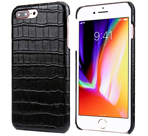 (iPhone 7 Plus/iPhone 8 Plus Leather Case, Reginn Slim Fit Phone Cover [Wireless Charging Compatible] [Crocodile Pattern] Genuine Leather Case for iPhone 7 Plus/iPhone 8 Plus (Black))