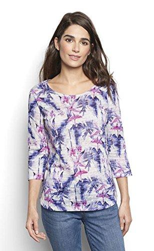 Orvis Women's Three-Quarter Sleeved Printed Tee, Purple Floral, Medium