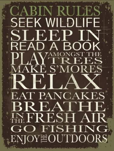 Modern Decor Positive Thinking Motivational Rules to Live By Cabin Rules Metal Sign