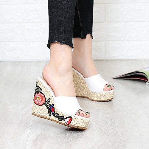 Mujeres Fondo Con Sandalias Furnishing CincoBlanco Flat Antideslizante Arrastre Caminar Casual KHSKX Bordado Y Base Y Zapatillas Una De Espesor Home ModaTreinta Pendiente Sandalias Paja De Ew4zp