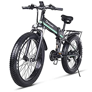 51K9AXudKvL. SS300 26 Pollici Fat Tire Electric Bike 1000W 48V Snow E-Bike Shimano 21 velocità Beach Cruiser Mens Women Mountain e-Bike Pedal Assist, Batteria al Litio Freni a Disco Idraulici