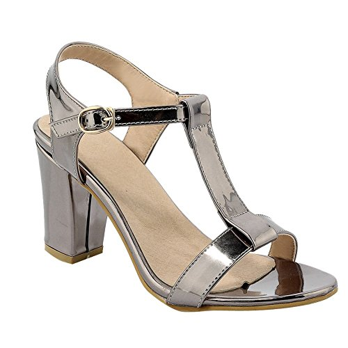 Charm Foot Mujeres Fashion T Strap Hebilla Sandalias De Tacón Grueso Color Del Arma