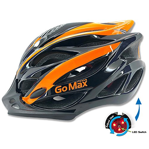 GoMax Aero Adult Safety Helmet Adjustable Road Cycling Mountain Bike Bicycle Helmet Ultralight Inner Padding Chin Protector and Visor w/Rear LED Tail Light Adjust (Black/Orange with LED, Large)
