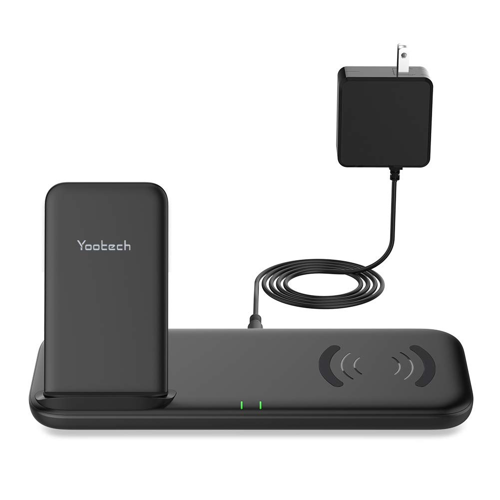 Yootech Dual Fast Wireless Charger with Cooling Fan, 4 Coils 10W Max Wireless Charging Stand Pad with Adapter,Compatible with iPhone 11/11 Pro/11 Pro Max/Xs MAX/XR,Galaxy Note 10/S10,AirPods Pro
