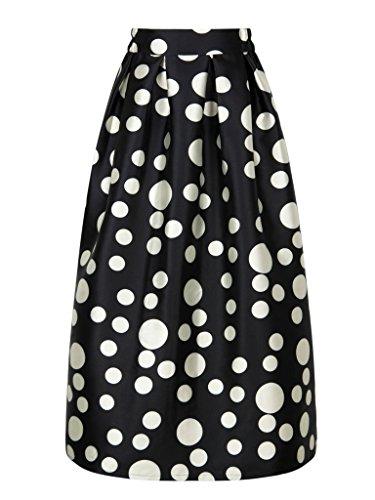 Dot Print Skirt (PERSUN Women's Vintage Elegant Black Contrast Polka Dot Print Prom Party Maxi Skirt,Black03,10)