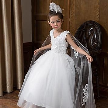 RENQINGLIN Vestido De Niña Princesa Vestido Vestido De Novia De Rendimiento De Piano Larga Falda De