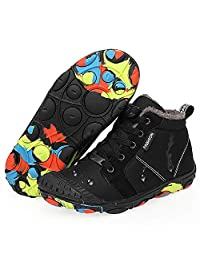 Ymombest Kids Waterproof Snow Boots Outdoor Anti-Slip Lightweight Ankle Boots Winter Warm Fully Fur Lined Walking Shoes