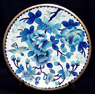 """8"""" Chinese Blue Flowers & Birds Exquisite Cloisonne Plate"""