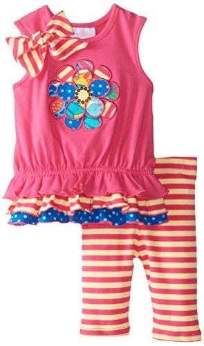 Embellished Appliqued (Bonnie Baby Baby Girls' Appliqued Knit Playwear Set, Fuchsia, 3-6 Months)