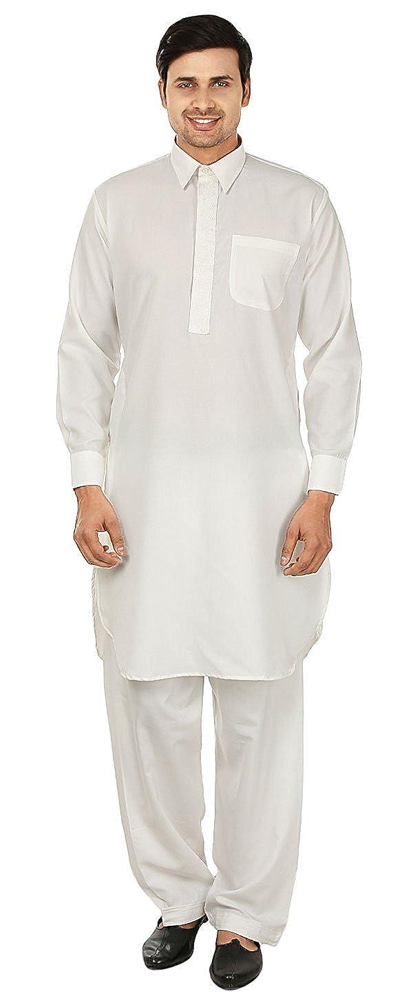 Maple Clothing Mens Pathani Indian Kurta Salwar Set Party Wear Clothes