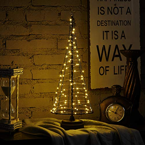 HONESTY USB Christmas Tree,Mini Christmas Tree17Inch 85LED, Decorative Lights for Home/Decoration/Party/Wedding, USB or Battery Powered, Light Tree, Inside Black L