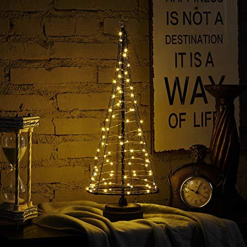 HONESTY USB Christmas Tree,Mini Christmas Tree17Inch 85LED, Decorative Lights for Home/Decoration/Party/Wedding, USB or Battery Powered, Light Tree, Inside Black L