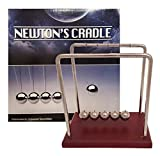 Universal Specialties Classic Newton's Cradle Extra Large 7 1/4 Inch Dark Brown Wooden Base Balance Balls