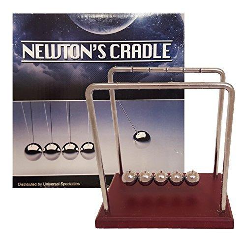 Universal Specialties Classic Newton's Cradle Extra Large 7 1/4 Inch Dark Brown Wooden Base Balance Balls