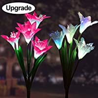 Goodtechnical Solar Garden Outdoor Lights, 2Packs Solar Flower Lights Outdoor Color Changing Decorative Landscape Lawn Yard Stake Patio Lily Lights Solar Powered (Pink & White)
