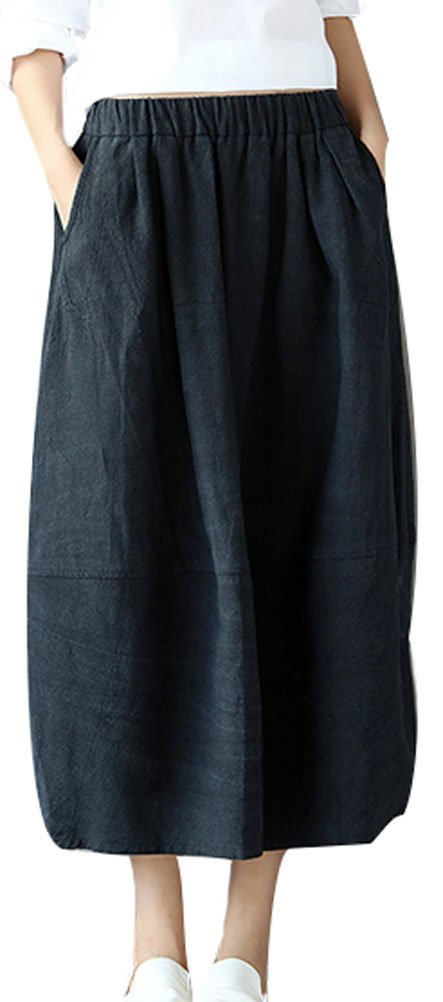 Soojun Women's Vintage Loose Linen Elastic Waist Pleated Midi Skirt, Black