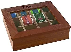 APS 11776 Caja de té con 12 compartimentos, 31 x 28cm, H: 9 cm, caja de madera de color rojo-marrón con ventanas de cámaras de acrílico 12 se puede equipar con bolsitas envueltas