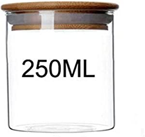 1PC 250ML Clear Glass Bamboo Wooden Lid Resistant Borosilicate Seal Pot Bottles Storage Jar Container For Sample Container Dried Fruit Snack Kitchen Canned Box