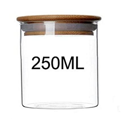Amazon Com 1pc 250ml Clear Glass Bamboo Wooden Lid Resistant