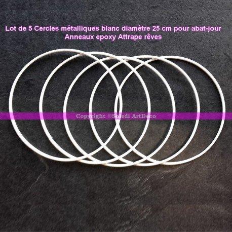 Lot de 5 Cercles métalliques blanc diamètre 25 cm pour abat-jour, Anneaux epoxy Attrape rêves Lealoo®
