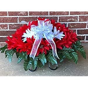 Large RED White Cemetery Saddle ~ Red and White Headstone Saddle ~ Cemetery Flowers 58