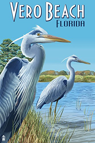 Vero Beach, Florida - Blue Heron Giclee Gallery Print, Wall Decor Travel Poster