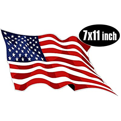 Large Waving American Flag Sticker (USA Made Patriotic rv): Automotive