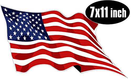 LARGE Waving American Flag Sticker (usa made decal) (Large Usa Sticker)