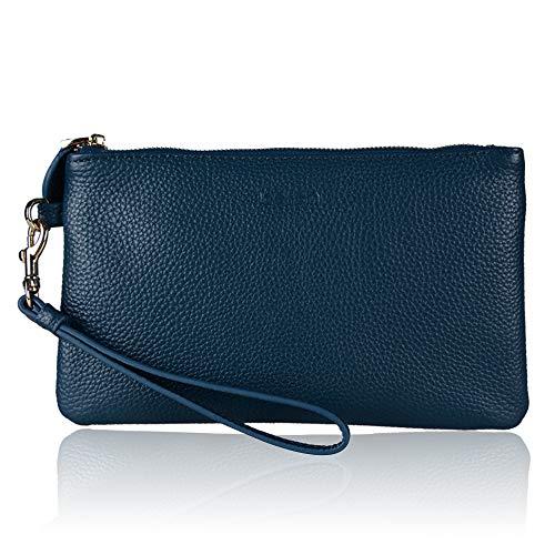 - Befen Women Genuine Leather Clutch Wallet Smartphone Wristlet Wallet Purse - Ocean Blue