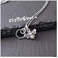 """Sterling Silver Tiny Honeycomb Bumble Bee Charm Necklace, 18"""""""