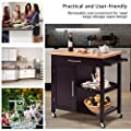 Giantex Kitchen Trolley Cart Wood Rolling Island Cart Home Restaurant Kitchen Dining Room Serving Utility Cart w/Bamboo Top Storage Cabinet Bigger Drawer Removable Tray Shelf, Brown