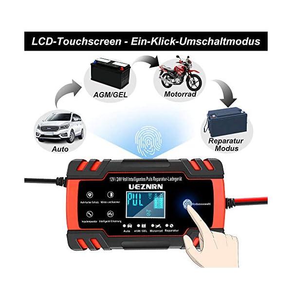 51K9D03aSuL Ueznirn Ladegerät Autobatterie 12V/24V KFZ Batterieladegerät Vollautomatisches Intelligentes Erhaltungsladegerät mit LCD…