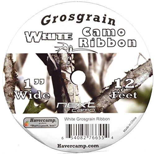 White Camo Grosgrain Ribbon 1 Inch by 12