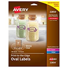"Avery Print-to-the-Edge Glossy Clear Oval Labels,1-1/2"" x 2-1/2"" Diameter, Pack of 180 Labels (22854)"