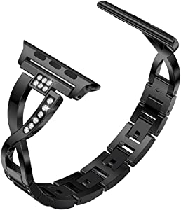 Yolovie Stainless Steel Band Compatible for Apple Watch Bands 42mm 44mm Women Rhinestone Bling Wristband Metal Bracelet Sport Strap with Removal Links for iWatch Series 5 4 3 2 1 - Black