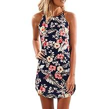 Women Casual Halter Neck Printed Summer Beach Short Spaghetti Straps Chiffon Mini Dress Sundresses