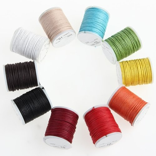 (TOOGOO(R)10 X Reel 10M Multicolor Cotton Rope Cord 0.9mm )