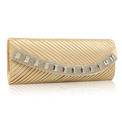 Damara Pleated Fabric Women Clutch Damara Bags Gold Women Satin Evening tXqRx5w