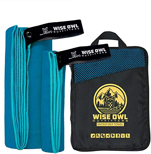 Wise Owl Outfitters Camping Towel  Gym Towel - Ultra Soft Compact Quick Dry Microfiber Best Fast Drying Fitness Beach Hiking Yoga Travel Sports Backpacking - XL MBlue best to buy