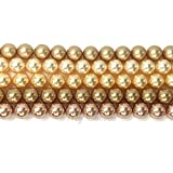 GOLD COLORS MIX Swarovski 5810 Crystal Round 8mm Pearls Beads 25 pcs *FREE Shipping from Mychobos (Crystal-Wholesale)*