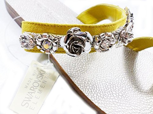 EDDY DANIELE 37 EU Sandalias Mujer Amarillo Gamuza / Cristales Swarovski AW08