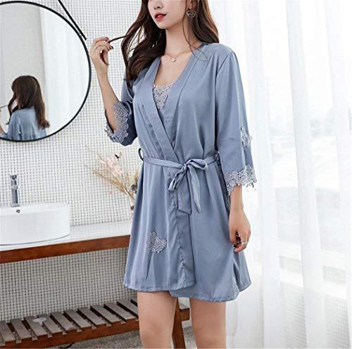 Vestido Especial Conjunto Cuello Gris Mujer Pijamas Manga Piezas Larga Con Seda En Para V Suelto Dos De Estilo Camisón XCvX7nfqwF